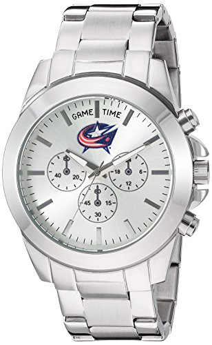 Game Time Women's 'Knock-Out' Quartz Stainless Steel Quartz Analog Watch, Color:Silver-Toned (Model: (Columbus Blue Jackets Ladies Watch)