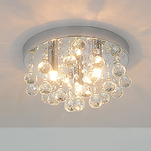 RH RUIVAST Flush Mount Ceiling Light Crystal Chandeliers Lighting 3 Light Fixture Mini Style Modern Ceiling Lamps for Living Room, Dining Room, Bedroom (Three High Light 13)