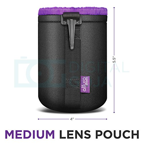 Altura Photo Medium Neoprene Pouch Bag for DSLR Camera Lens (Canon, Nikon, Pentax, Sony, Olympus, Panasonic)