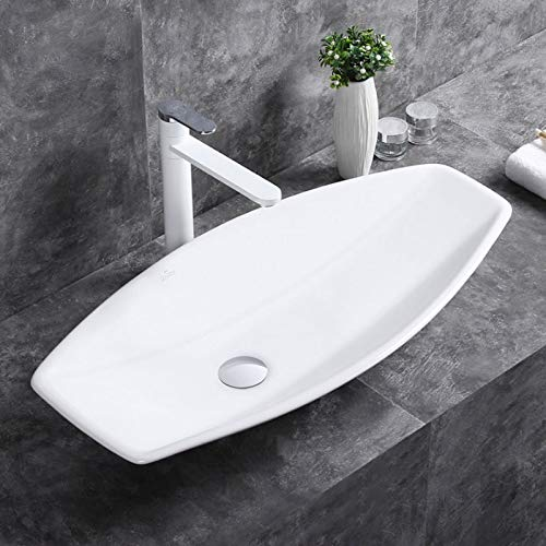 Bathroom Sink, Vessel Sink Porcelain Boat Oval Above Counter White Countertop Bowl Sink for Lavatory Vanity Cabinet Contemporary Style (E-CL-1302)