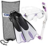 Cressi CRSPSFSS-PR-SM Palau Mask Fin Snorkel Set with Snorkeling Gear Bag, (Mens 4-7)