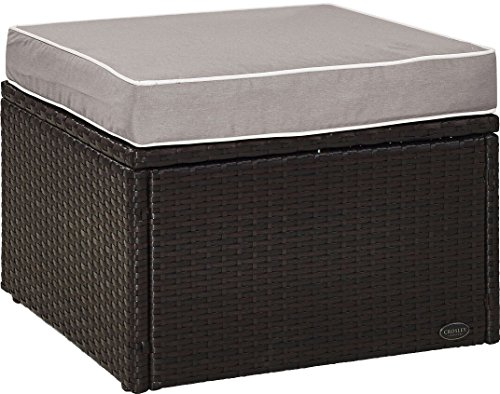 - Crosley Furniture KO70091BR-GY Palm Harbor Outdoor Wicker Ottoman with Grey Cushion, Brown