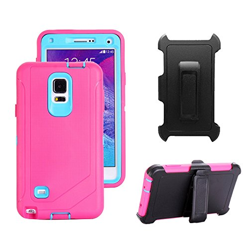 Galaxy Note 4 Holster Case, Harsel Defender Heavy Duty Shockproof Scratch Resistant Full Body Protective Military w' Belt Clip Built-in Screen Protector Case Cover for Galaxy Note 4 - Rose Light Blue