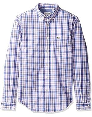 Men's Long Sleeve Medium Check Poplin Regular Fit Woven Shirt