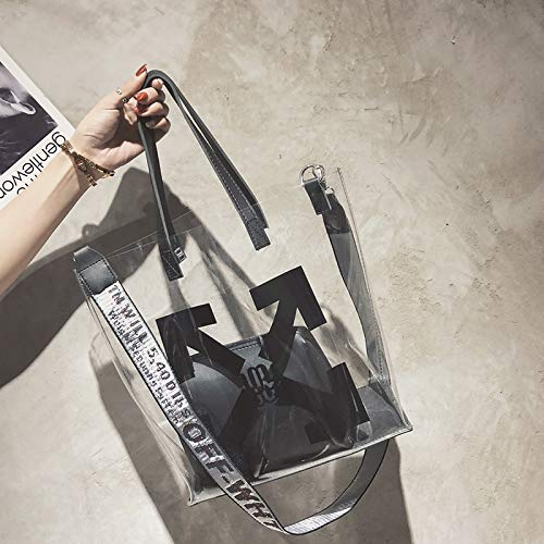 de Bolsa de Contraste gelatina Cuadrada Mujer Paquete Lentejuela Transparente impresión Costura de Bolsa pequeña láser Color Carta Tendencia Retro Bolso qAFXEwgA