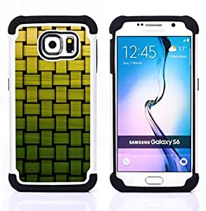 For Samsung Galaxy S6 G9200 - basket pattern green bamboo Dual Layer caso de Shell HUELGA Impacto pata de cabra con im??genes gr??ficas Steam - Funny Shop -