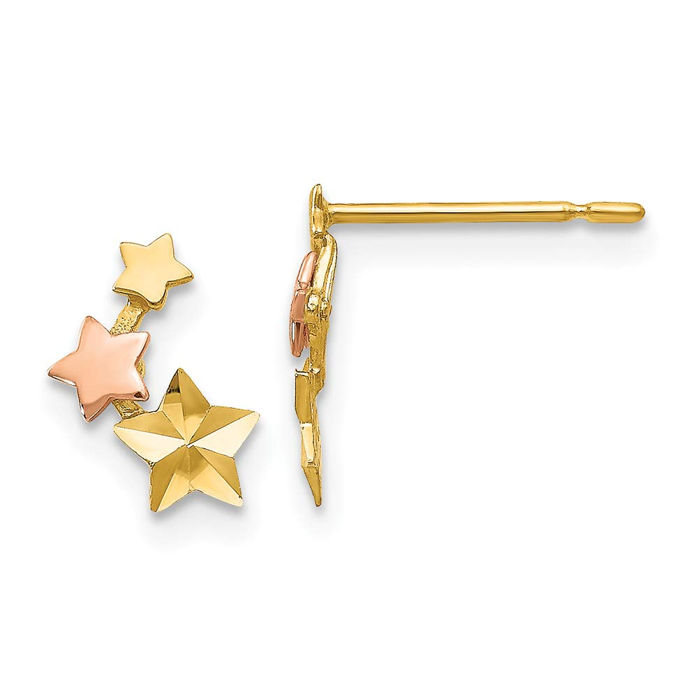 14K Rose And Yellow Gold Madi K Childrens 4 MM Star Post Stud Earrings