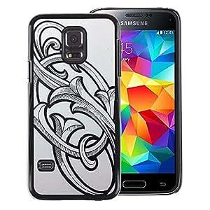 Red-Dwarf Colour Printing S O So Initials Letters Floral Calligraphy - cáscara Funda Case Caso de plástico para Samsung Galaxy S5 Mini, SM-G800, NOT S5 REGULAR!