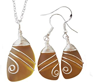 """product image for Handmade in Hawaii, Special wire wrapped Yellow Topaz""""November Birthstone Color"""" sea glass necklace + earrings set, (Hawaii Gift Wrapped, Customizable Gift Message)"""