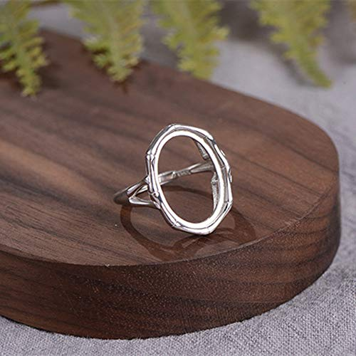 Ring Blank for 13x18mm Oval Cabochons White Gold Plated 925 Sterling Silver Adjustable Band Ring Base R953B
