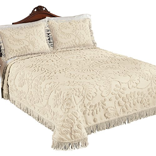 Botanical Chenille Bedspread With Fringe Border, Ivory, King