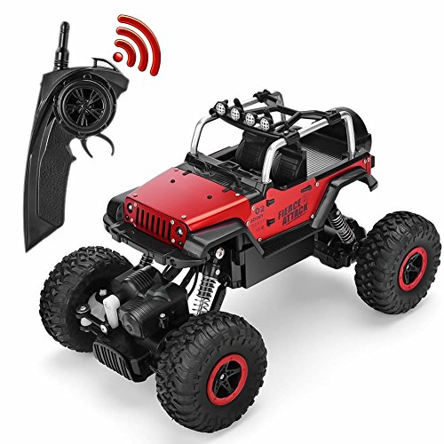FSTgo RC Cars 1/18 Metal Shell Remote Control Off-Road Vehicles 2.4GHz 4WD Radio Controlled Trucks Rock Monster Crawler with LED Light
