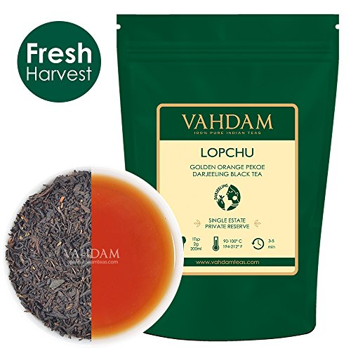 Lopchu Golden Orange Pekoe, Darjeeling Black Tea - Single Estate Loose Leaf Tea, 100% Pure Unblended Darjeeling Sourced Directly from the Iconic Lopchu Plantations, 3.53oz (Makes 35-40 Cups)