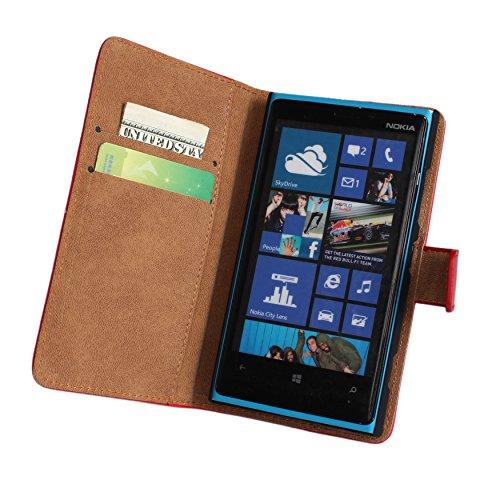 Lumia 920 Case, iCoverCase Genuine Leather Magnetic Flip [Card Slot] Wallet Cover Kickstand Case for Nokia Lumia 920 (Yellow) Photo #5