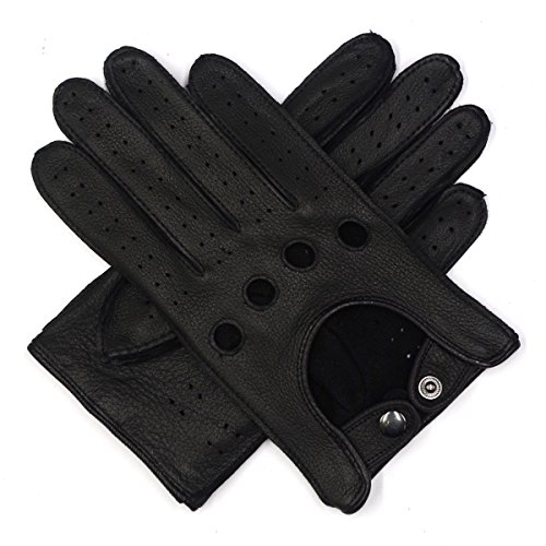 Harssidanzar Mens Leather Driving Gloves Deerskin Unlined, Black, - Driving Deerskin Gloves