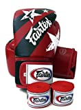 Fairtex Muay Thai Boxing Gloves. BGV1 - Nation Print. Limited Edition. Color: Red. Size: 12 14 16 oz. Training, Sparring Gloves for Boxing, Kick Boxing, MMA (Red, 16 oz)