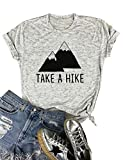 Nlife Women Casual Take A Hike Letter Print T-Shirt Round Neck Short Sleeve T-Shirt Tops