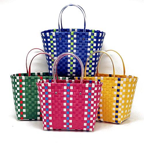 Women Shopping Blue Woven Travel Causal Sorfier Handbags Basket Beach Handmade Rattan Tote Weave Shoulder ROd6q