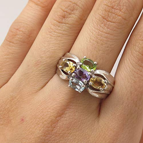 Signed 925 Sterling Silver Real Multicolor Gemstone Cross Ring Size 9.5 Jewelry by Wholesale Charms