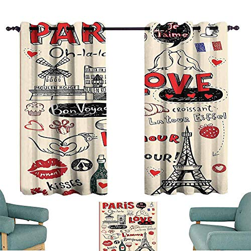 (DILITECK Customized Curtains Paris City Decor Collection Paris Love Doodles Coffee Wine Glass Croissant Cheese Cupcake Kiss Sketchy Art Image Thermal Insulated Tie Up Curtain W55 xL39 Red Black)