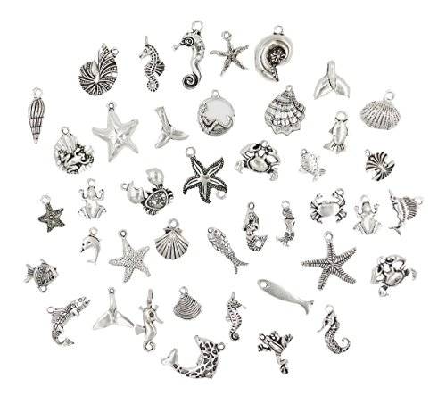 40pcs Ocean Fish & Sea Creatures Mix Antique Silver Charm Pendant Connector for Making Bracelet and Necklace DIY Vintage Jewelry Supply Lot Wholesale