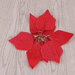 VORCOOL 50PCS Artificial Poinsettia Floral Heads Christmas Tree Decorations Xmas Home Front Door Wreath Table Centerpieces Arrangements Fake Hanging Vine Swag Decorative 5