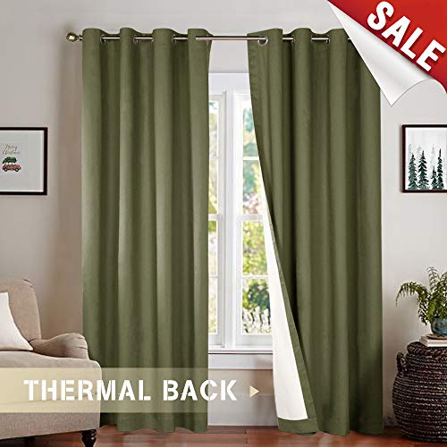 Blackout Bedroom Window Panels, Light Blocking Thermal Lined Curtains for Bedroom/Living Room, 95 Inches Long, Olive Curtain Grommet Top, 2 Panels ()