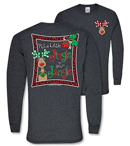 Couture Tee Company Jingle Jangle on Long Sleeve Womens Classic Fit Holiday T-Shirt - Dark Heather, Small (Show Christmas Southern Reviews)