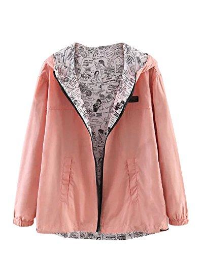 Biker Bomber Pink Moto Veste Court Mince Jacket Double Blouson Zipper Femme Manteau Face Ax87wWT