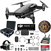 DJI Mavic Air Fly More Combo (Onyx Black) Drone Combo 4K Wi-Fi Quadcopter with Remote Controller Mobile Go Bundle with Hard Case VR Goggles Landing Pad 16GB microSDHC Card and Cleaning Kit