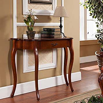 Beautiful All Things Cedar Curved Console Table, Cherry