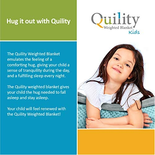 """Quility Premium Kids Weighted Blanket & Removable Cover - 5 lbs - 36""""x48"""" - for a Child Between 40-70 lbs - Single Size Bed - Premium Glass Beads - Cotton/Minky - Grey/Aqua Color 4"""