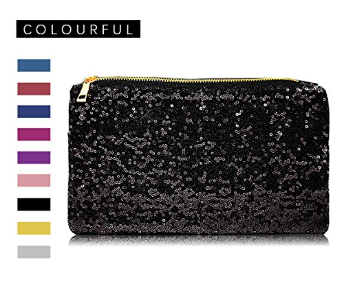 DILER Evening Bags Women's Sequined Mesh Style Wedding Evening Formal Cocktail Black001 (Mesh Sequin Clutch)