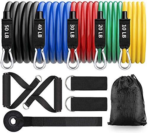 BIGFOX 11Pcs Bandas Elasticas Musculacion,Cintas Elasticas Fitness,hasta 150LB,Set de Bandas de Resistencia para-5 Tubos de latex, 2 Manijas, 2 Correa de Tobillo, Ancla de Puerta, Bolsa de Transporte