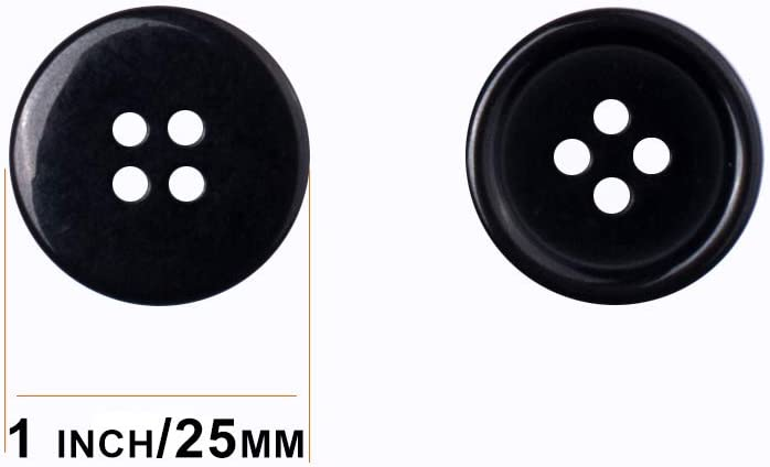 Black Buttons Sewing Resin Flatback Buttons Round Shape Button for DIY Sewing Craft 50PCS 1 Inch 25mm