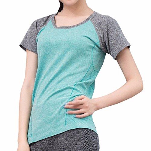 QIYUN.Z Manga Corta De Deporte De La Salud De Las Mujeres Camiseta De Deporte Yoga De La Gimnasia De Ejecucion Respirables Camisetas Cielo Azul