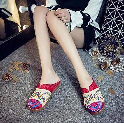 Eeayyygch Bestickte Schuhe, Sehnensohle, ethnischer Stil, weiblicher Flip Flop, Mode, Bequeme, lässige Sandalen, rot, 37 (Farbe : -, Größe : -)