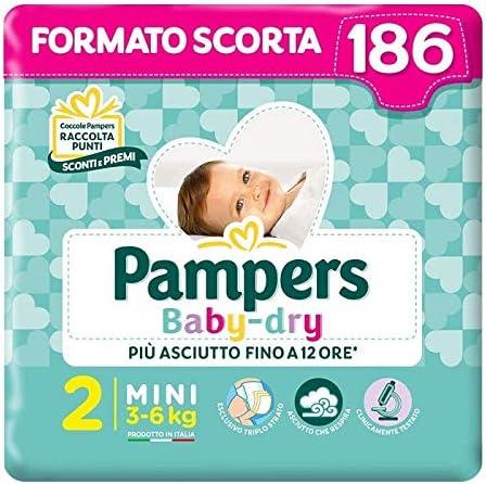 Pampers Baby Dry Mini, 186 Pannolini, Taglia 2 (3-6 kg)