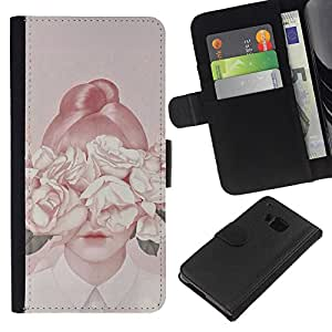 KingStore / Leather Etui en cuir / HTC One M7 / Señora Flores del melocotón de la vendimia