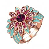 Kalapure Bohemian Style Multi Colorful Gemstones Sunflower Ring with Cubic Zirconia CZ (rose-gold-plated-base, 7)
