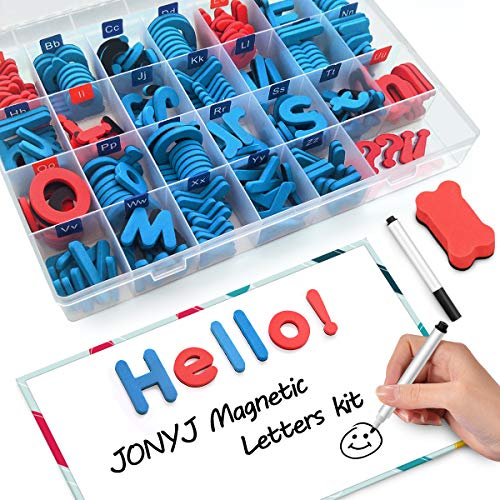 JONYJ Foam Magnetic Letters, Magnetic Alphabet Letters Board with Storage Box, 208 Pcs ABC Uppercase Lowercase Alphabet Magnets for Kids Spelling and Learning - Classroom & Home Education by JONYJ (Image #7)