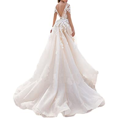 5cfe20ef7c17 Shushaliying Women's Retro Detachable Lace Ball Gown Cap Sleeves Applique  Mermaid Prom Gown V Back Train