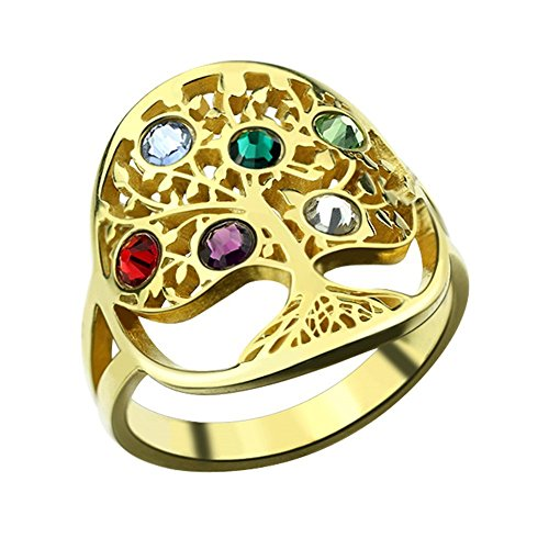 Necklaceforyou Tree of Life Ring Sliver Birthstone Ring Sterling Silver Family Tree Ring Custom Mother's Ring