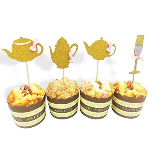 Set of 24 Teapot Cupcake Toppers Golden Glitter Tea Party Decors