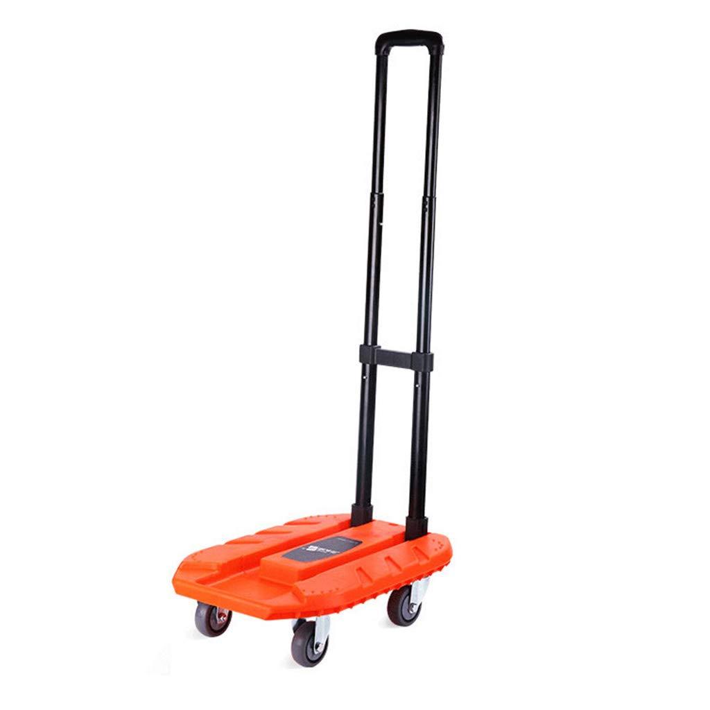 ショッピングキャリー ショッピングカート食料品買い物かご折りたたみ式携帯用トロリー家庭用トレーラー250 kg (Color : Orange, Size : 50*35*106cm) 50*35*106cm Orange B07L1P95KL