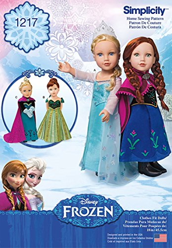 Simplicity 1217 Disney's Frozen 18'' Doll Clothes Costume Sewing Patterns, One Size Only
