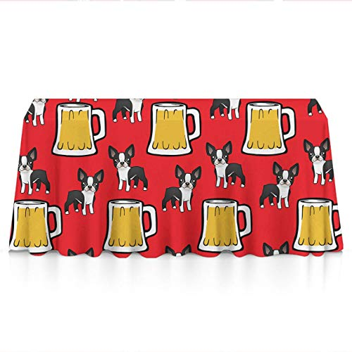 Premium Table Cloths for Holiday Dinner, Catering Events, BBQ - Happy New Year Boston Terriers with Beer Dust-Proof Stain Resistant Table Toppers Polyester Dinning Tabletop Decoration ()