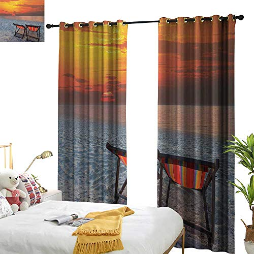 Anyangeight Seaside,Decorative Curtains for Living Room,Couples Chairs on Sandy Beach with Colorful Sky Scenery Seaside Nature Picture,W120 xL84,Suitable for Bedroom Living Room Study, etc.
