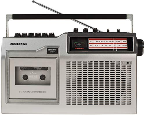 Crosley CT200A-SI Retro Portable Cassette Player with AM/FM Radio & Built-in Microphone Silver