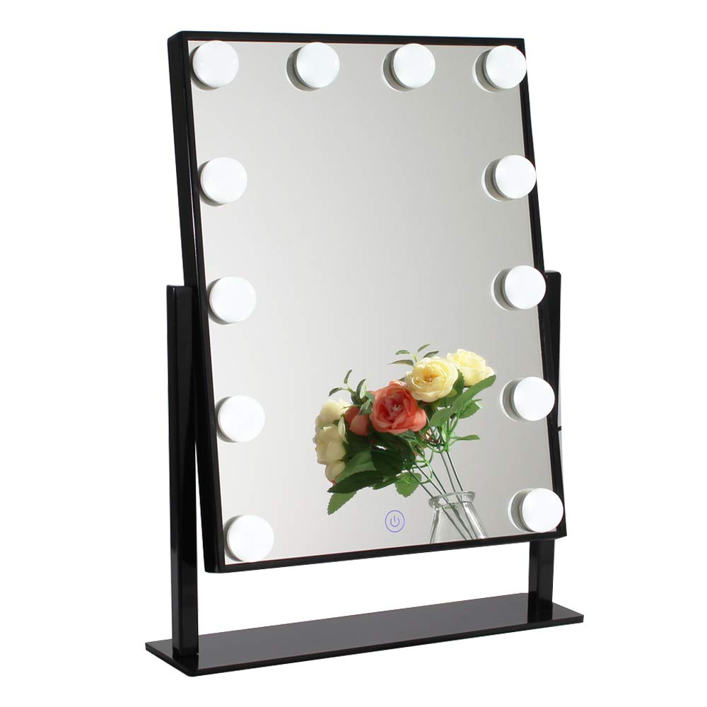 Chende Glossy Black Lighted Vanity Mirror with